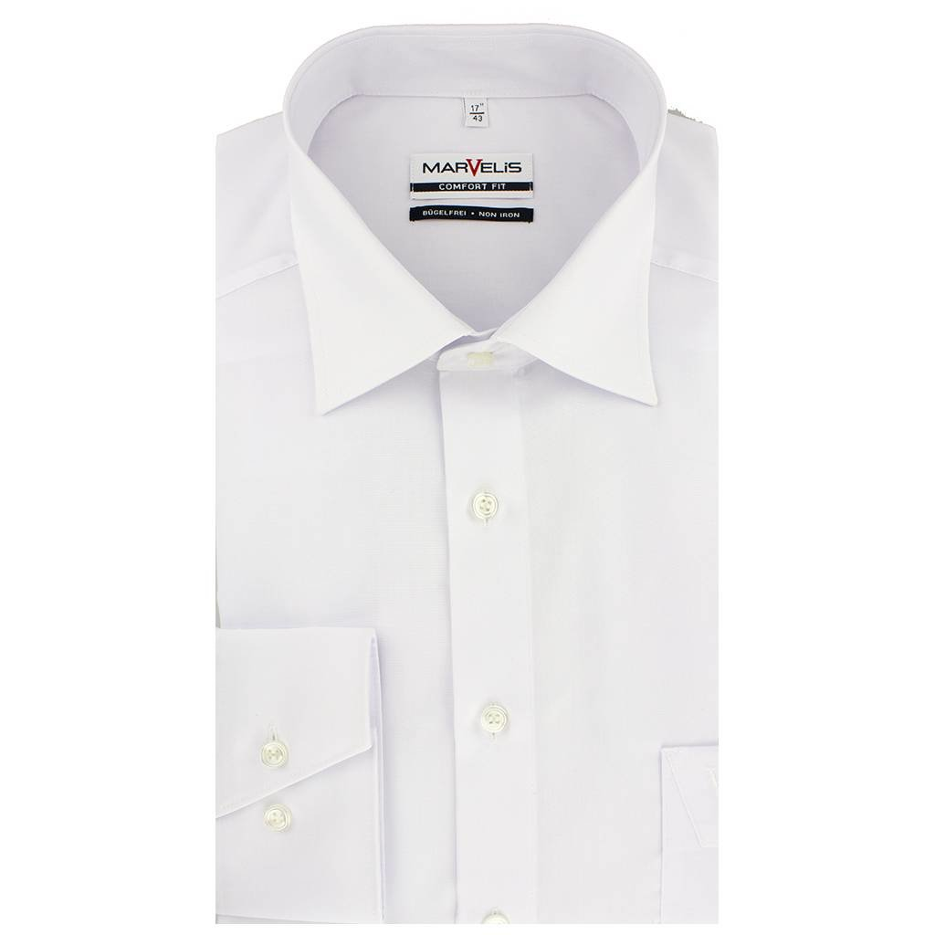 MarVelis MarVelis strijkvrij overhemd Comfort Fit wit, New Kent
