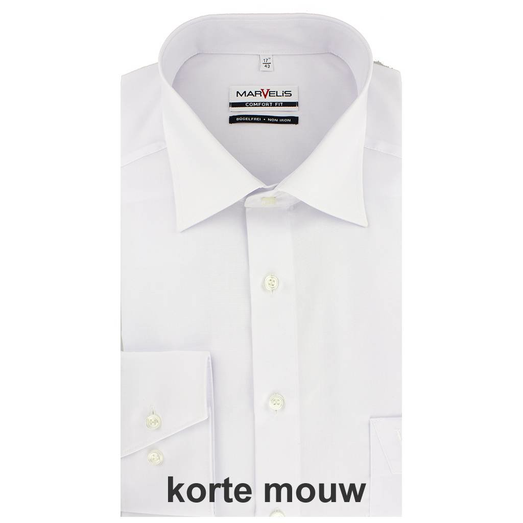 MarVelis MarVelis strijkvrij overhemd Comfort Fit wit, New Kent, Korte mouw