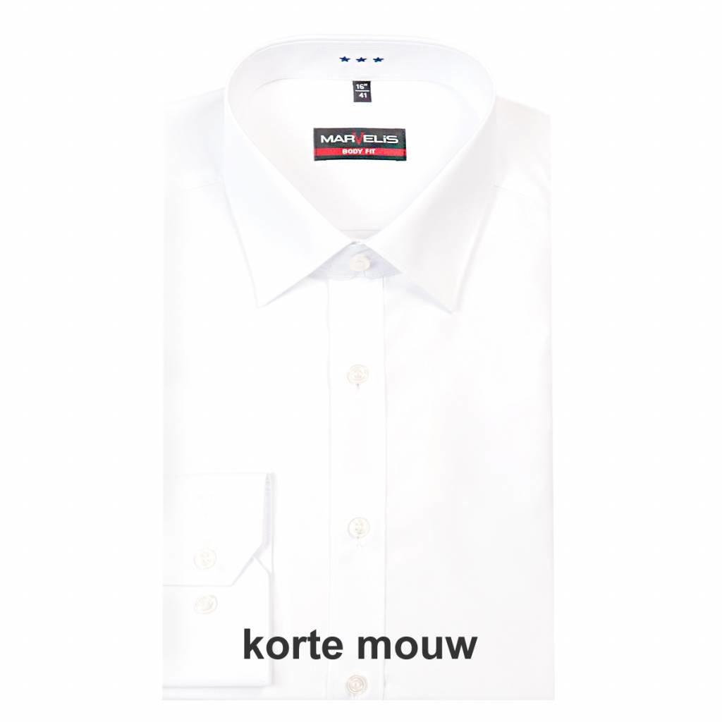 MarVelis MarVelis overhemd Body Fit wit, New York Kent, Korte mouw