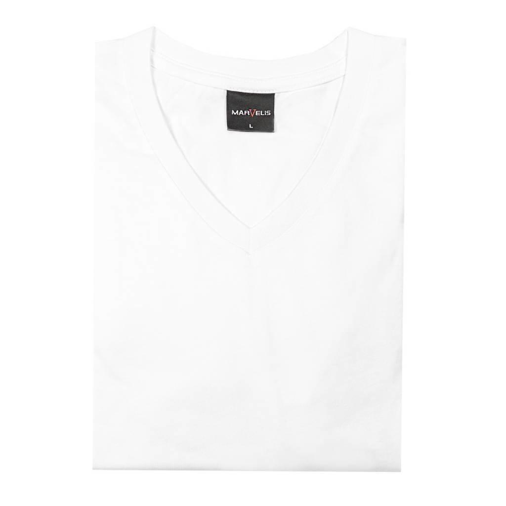 MarVelis MarVelis Single Jerssey T-shirt wit met V-hals