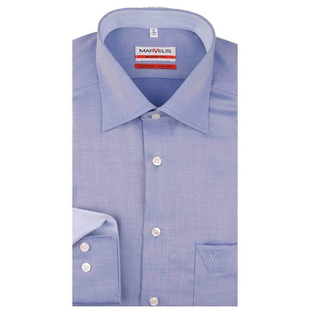 MarVelis MarVelis strijkvrij overhemd Modern Fit blauw structuur, New Kent