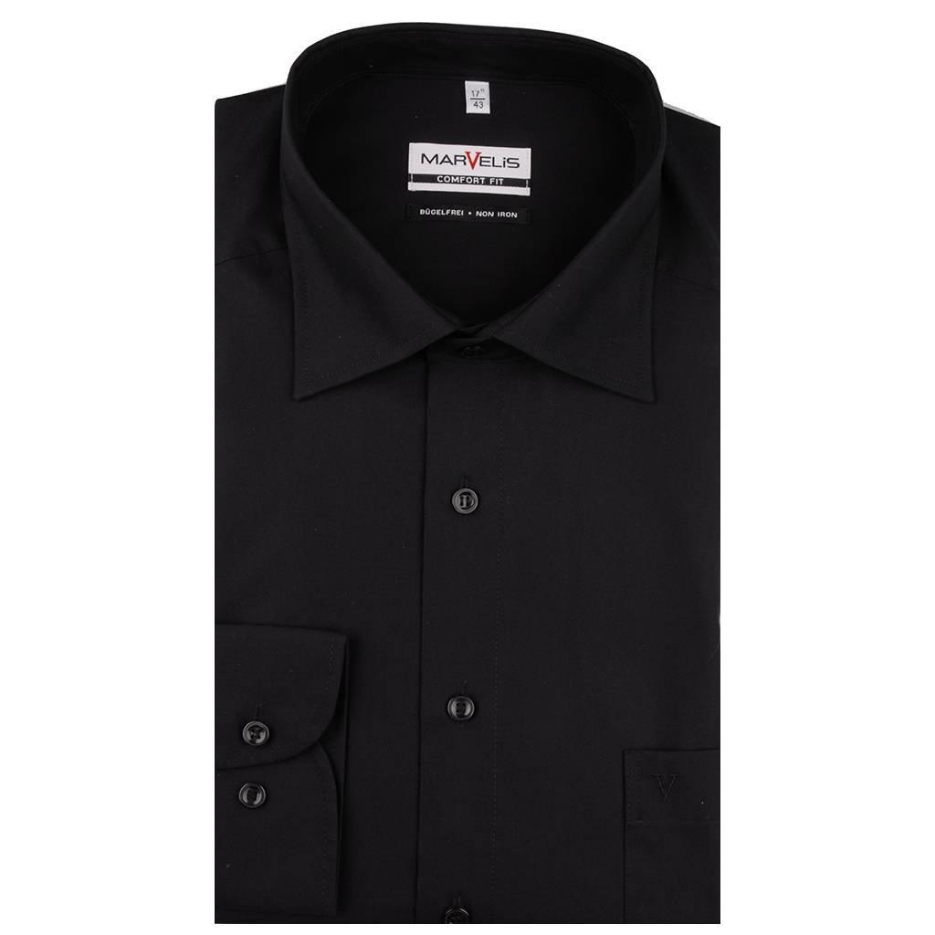 MarVelis MarVelis strijkvrij overhemd Comfort Fit zwart, New Kent