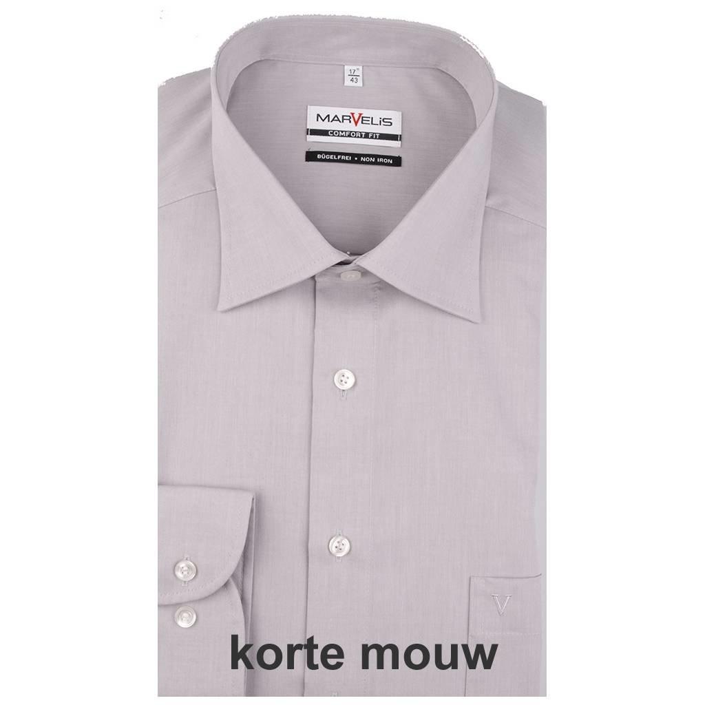 MarVelis MarVelis Chambray strijkvrij overhemd Comfort Fit, licht grijs met New Kent kraag, Korte mouw