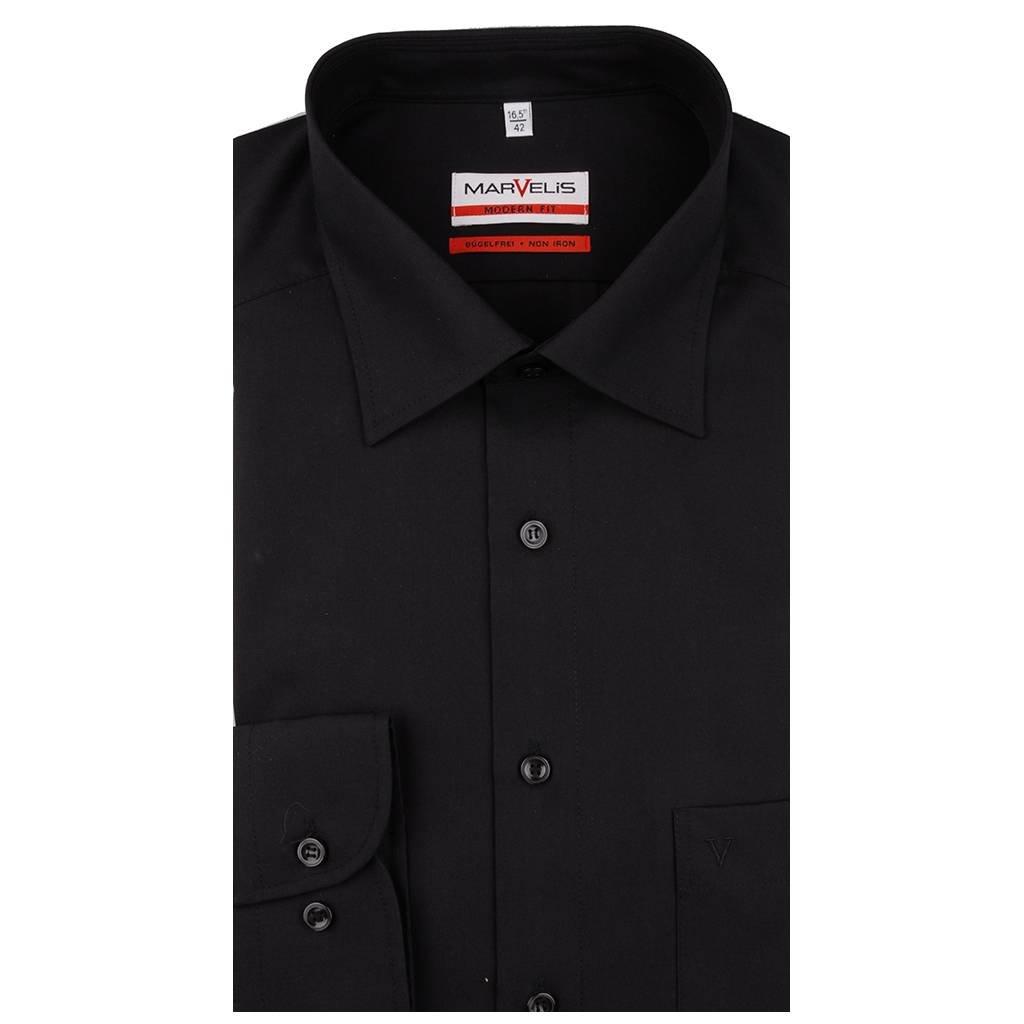 MarVelis MarVelis strijkvrij overhemd Modern Fit zwart, New Kent