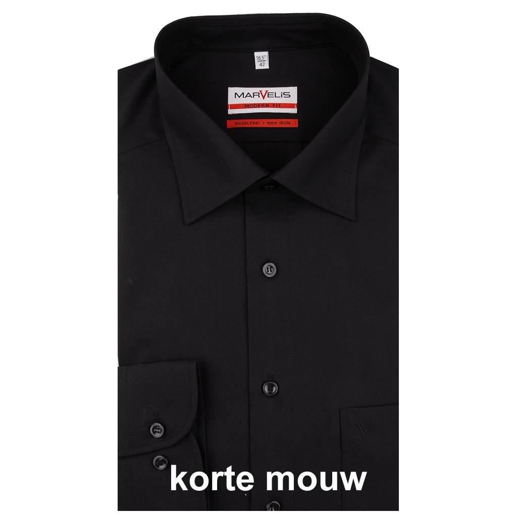 MarVelis MarVelis strijkvrij overhemd Modern Fit zwart, New Kent, Korte mouw