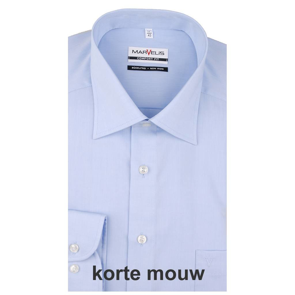 MarVelis MarVelis chambray strijkvrij overhemd Comfort Fit blue, New Kent, Korte mouw
