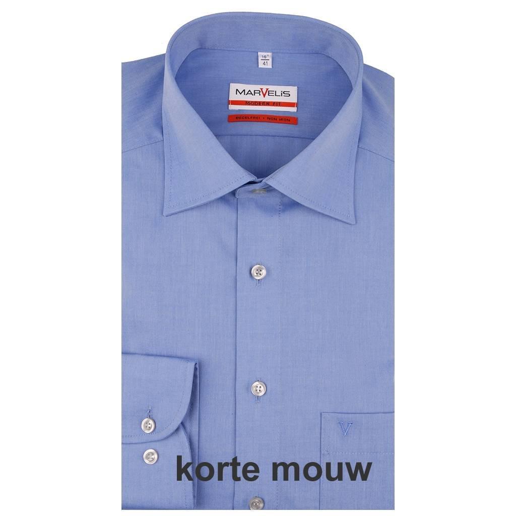 MarVelis MarVelis strijkvrij overhemd Modern Fit korenblauw, New Kent, Korte mouw