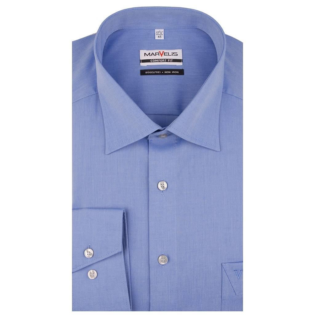 MarVelis MarVelis Chambray strijkvrij overhemd Comfort Fit korenblauw, New Kent