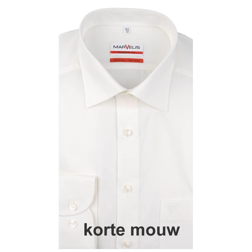 MarVelis MarVelis strijkvrij overhemd Modern Fit ecru, New Kent, Korte mouw