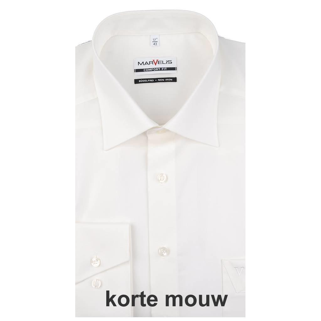 MarVelis MarVelis strijkvrij overhemd Comfort Fit ecru, New Kent, korte mouw