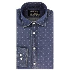 MarVelis Casual overhemd denim look met motief, New Kent kraag
