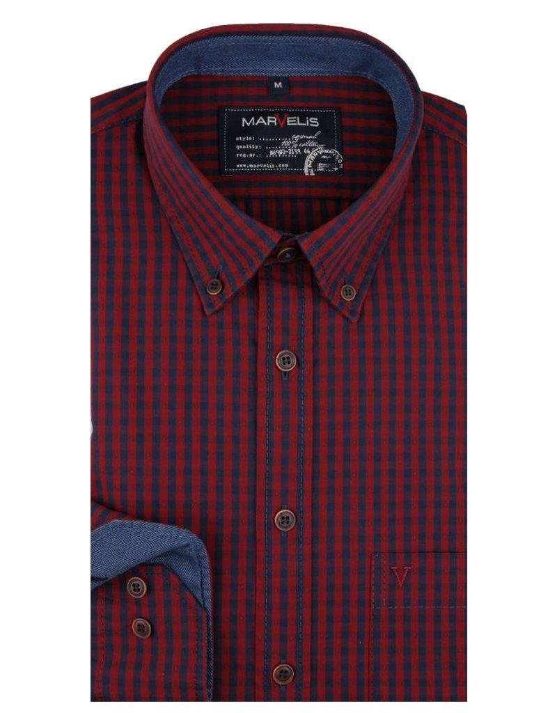 Geblokt Overhemd.Marvelis Casual Overhemd Blauw Rood Button Down 6001 64 35 Q