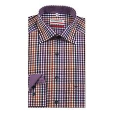 MarVelis MarVelis strijkvrij overhemd Modern Fit bordeaux-lila-wit geblokt, New Kent