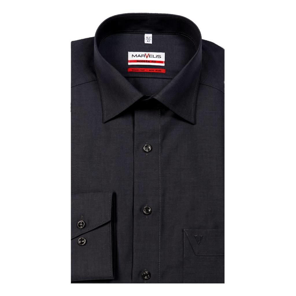 MarVelis MarVelis strijkvrij overhemd Modern Fit antraciet, New Kent