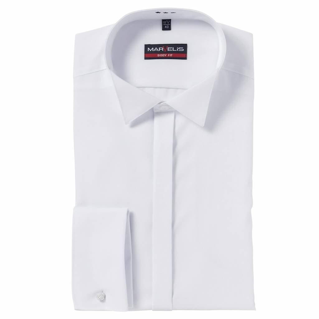 MarVelis MarVelis Body Fit Smoking Overhemd wit, Wing Kraag
