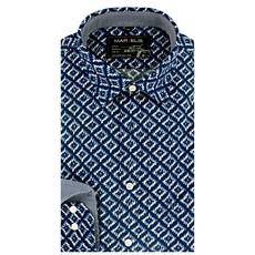 MarVelis Casual overhemd blauw-wit motief, New Kent kraag