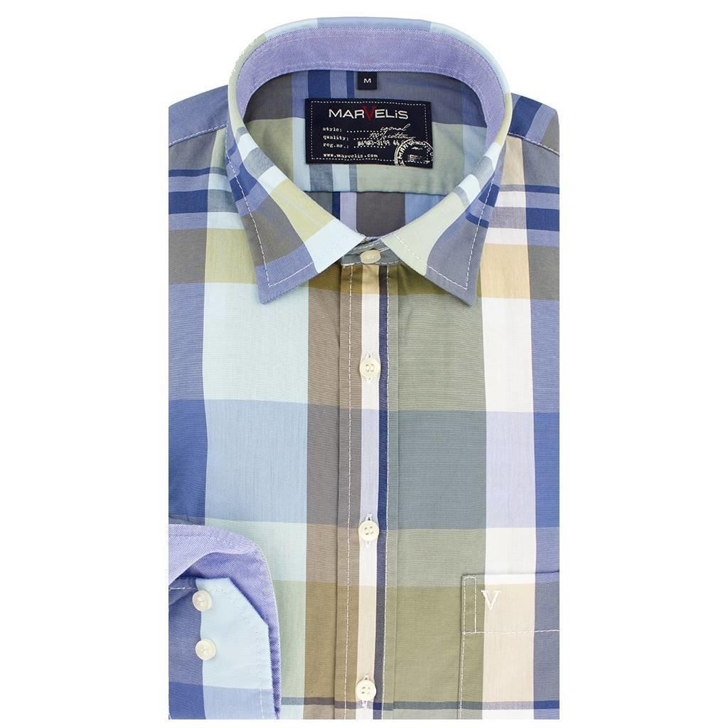 MarVelis Casual overhemd blauw geblokt, New Kent kraag