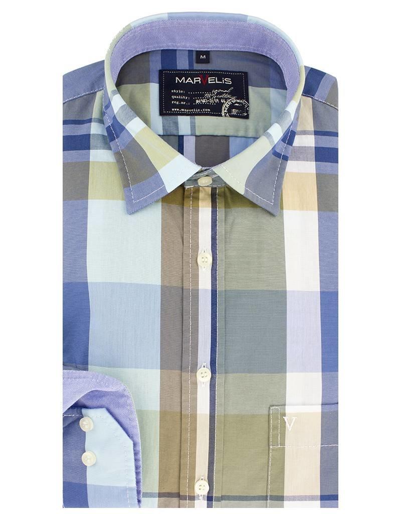 Geblokt Overhemd.Casual Overhemd Blauw Geblokt New Kent Kraag 6008 74 26 Q Fashion Eu