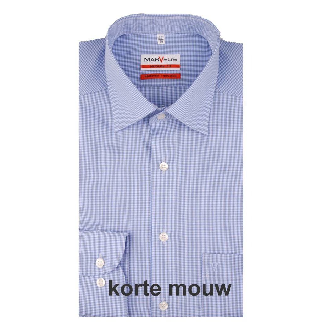 MarVelis MarVelis strijkvrij overhemd Modern Fit blauw-wit geblokt, korte mouw