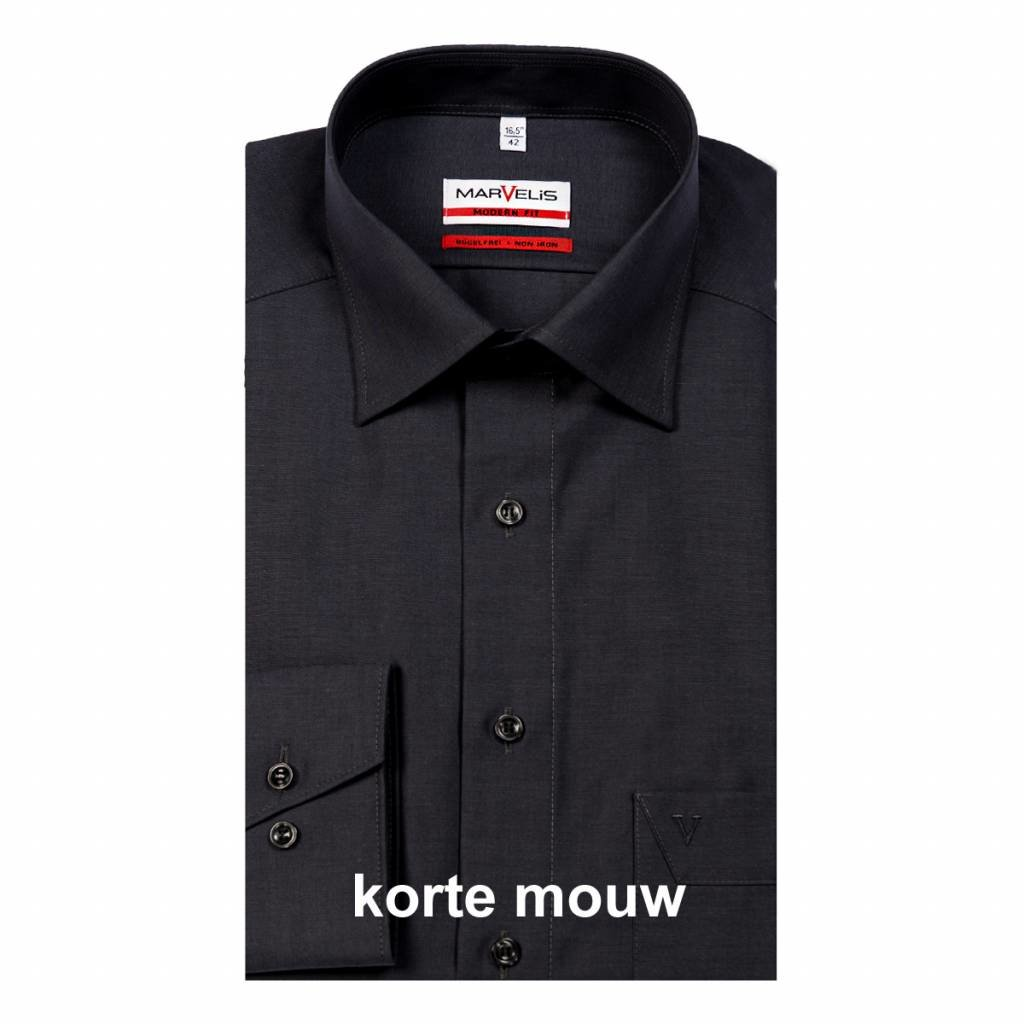 MarVelis MarVelis strijkvrij overhemd antraciet Modern Fit, korte mouw