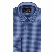 MarVelis Casual overhemd blauw geblokt , Button Down kraag