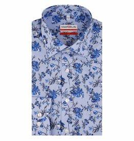 MarVelis MarVelis strijkvrij overhemd blauw-wit gestreept met bloemenprint Modern Fit, New Kent kraag