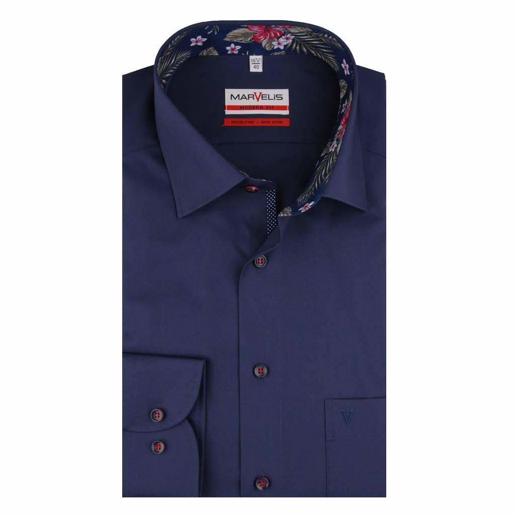 Overhemd Donkerblauw.Marvelis Strijkvrij Overhemd Donkerblauw Met Contrast En Bies Modern