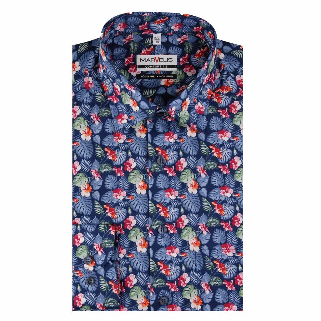 Bloemetjes Overhemd.Marvelis Strijkvrij Overhemd Met Mooi Bloemtjes Print Comfort Fit