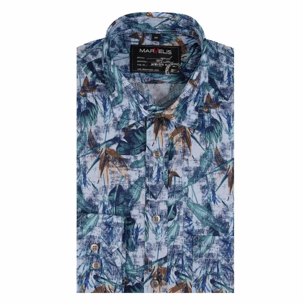 MarVelis Casual overhemd met fraaie zomerprint , New Kent kraag