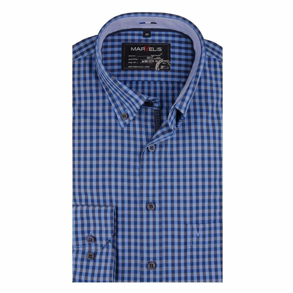 Geblokt Overhemd.Marvelis Casual Shirt Blauw Geblokt Met Contrast En Bies Button