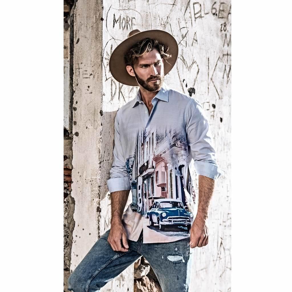 Casual Overhemd.Marvelis Casual Shirt Met Bijzonder Fraaie Print New Kent Kraag