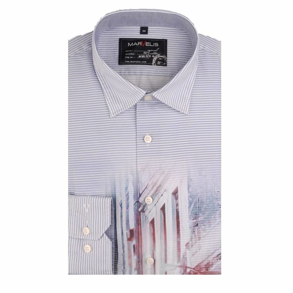 MarVelis Casual overhemd met fraaie Havanna print , New Kent kraag