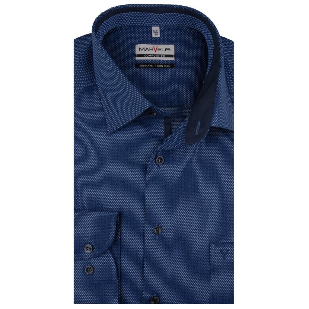 MarVelis MarVelis strijkvrij overhemd donkerblauw motief met contrast Comfort Fit, New Kent kraag