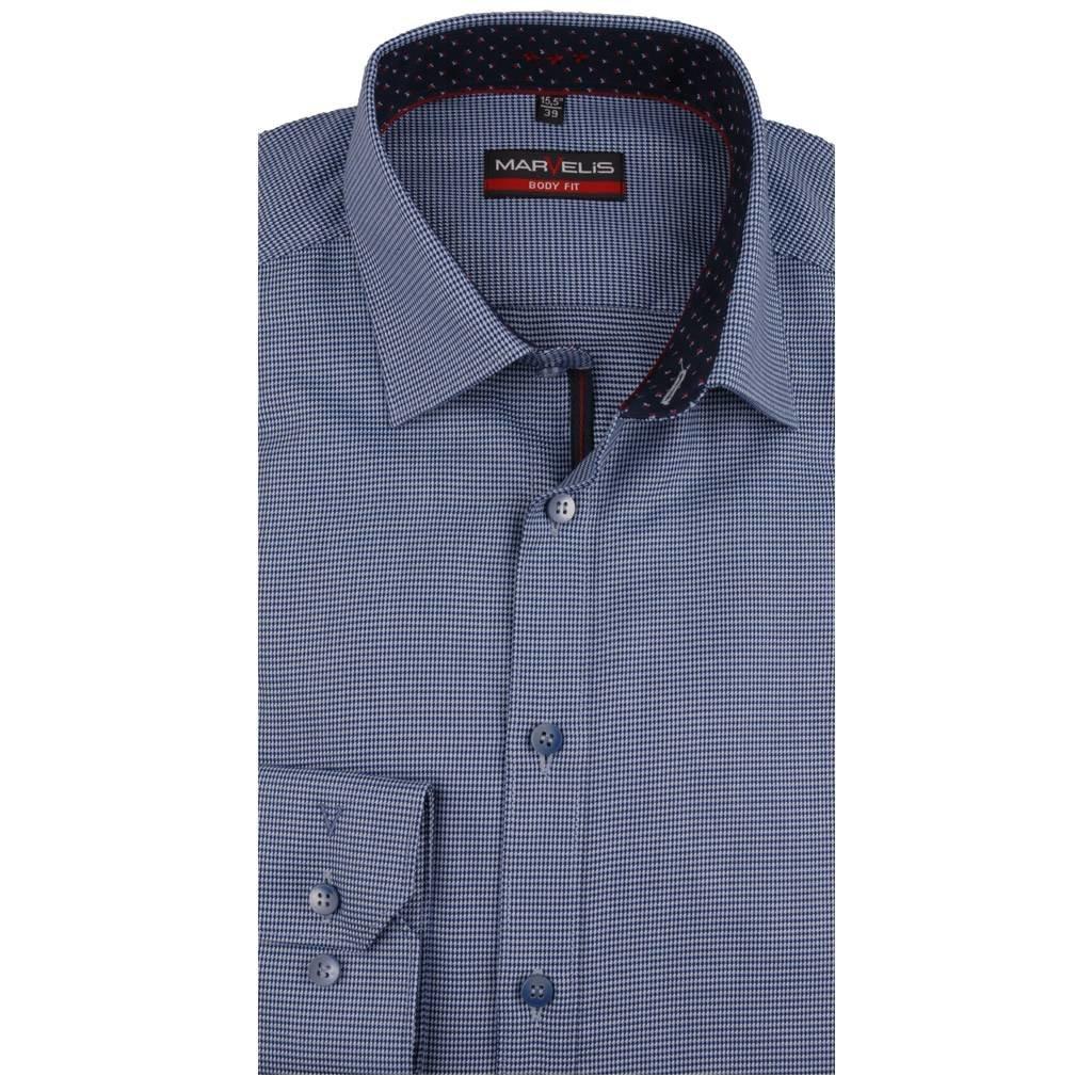 Overhemd Blauw.Marvelis Overhemd Blauw Motief Met Contrast Body Fit New York Kent
