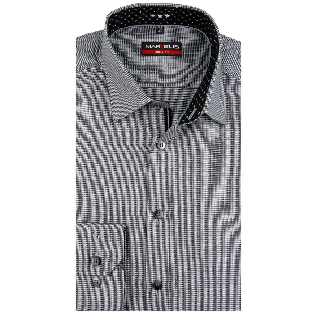 MarVelis MarVelis overhemd zwart motief met contrast Body Fit, New York Kent kraag