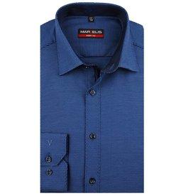 MarVelis MarVelis overhemd blauw motief met contrast Body Fit, New York Kent kraag