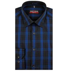 MarVelis MarVelis overhemd donkerblauw met ruit Body Fit, New York Kent kraag