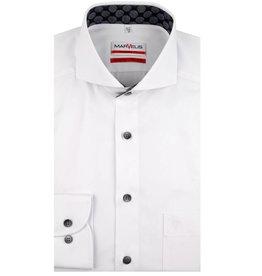 MarVelis MarVelis strijkvrij overhemd wit met contrast Modern Fit, Semi White Kent kraag