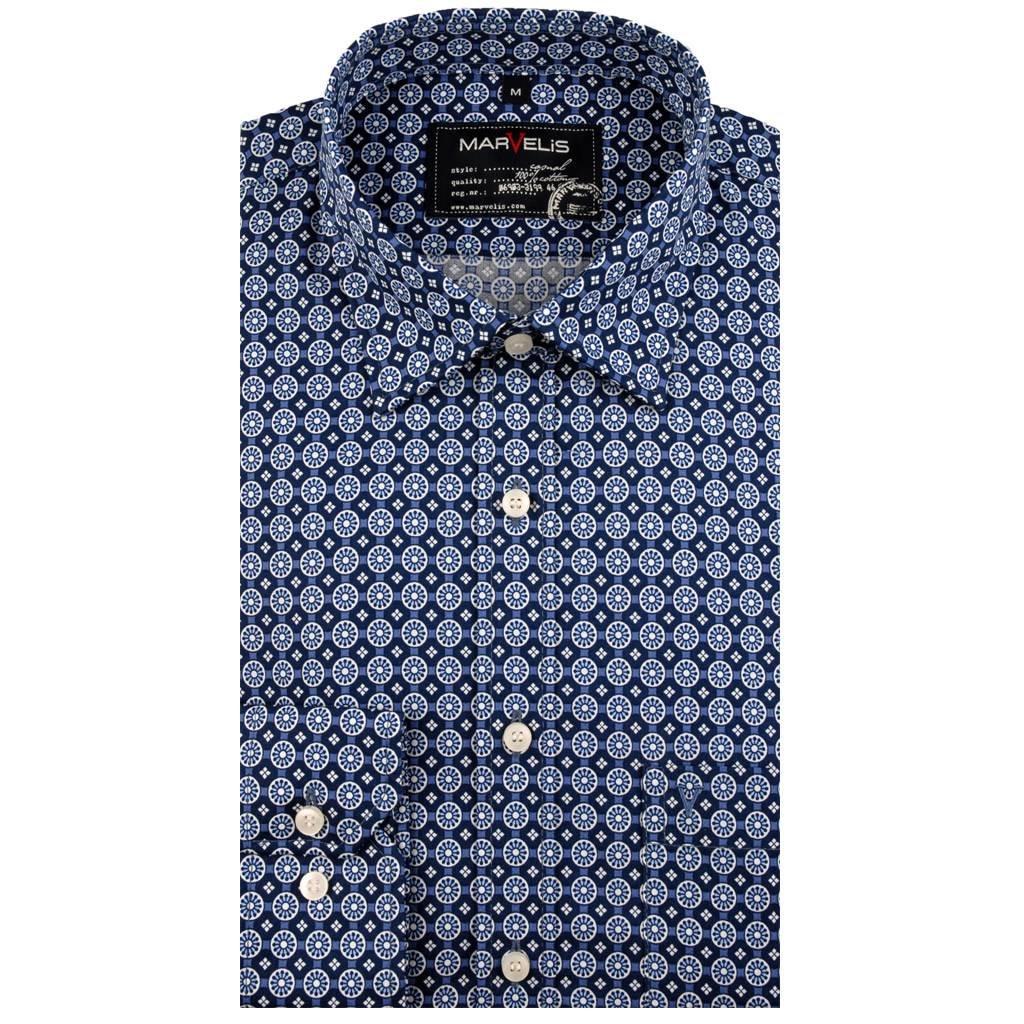 MarVelis Casual overhemd blauw met fraaie print , New Kent kraag