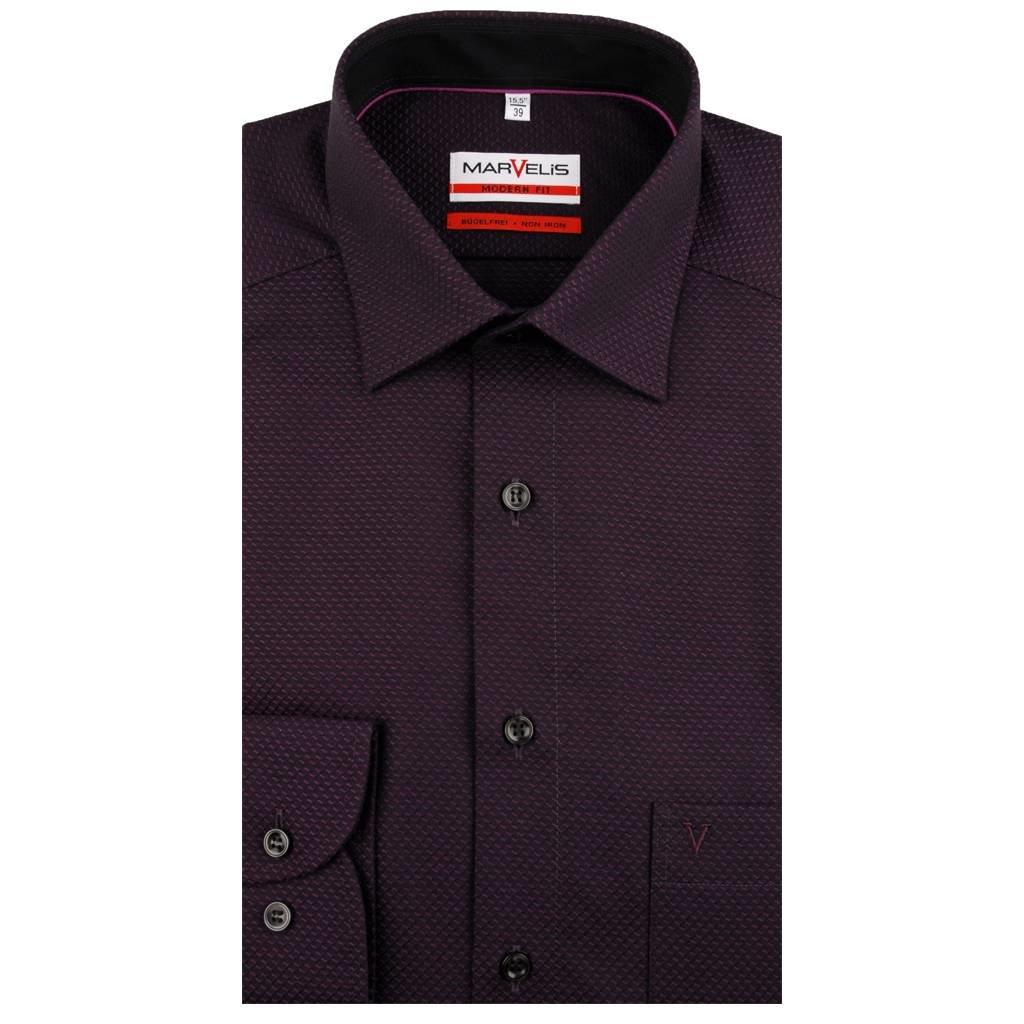 MarVelis MarVelis strijkvrij overhemd donker bordeaux rood motief en contrast Modern Fit, New Kent kraag