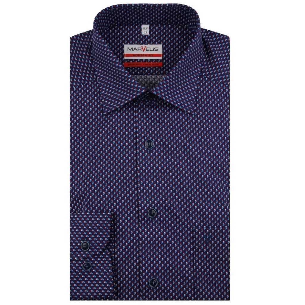 MarVelis MarVelis strijkvrij overhemd met speels motief Modern Fit, New Kent kraag