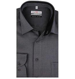 MarVelis MarVelis strijkvrij overhemd antraciet motief met contrast Comfort Fit, New Kent kraag