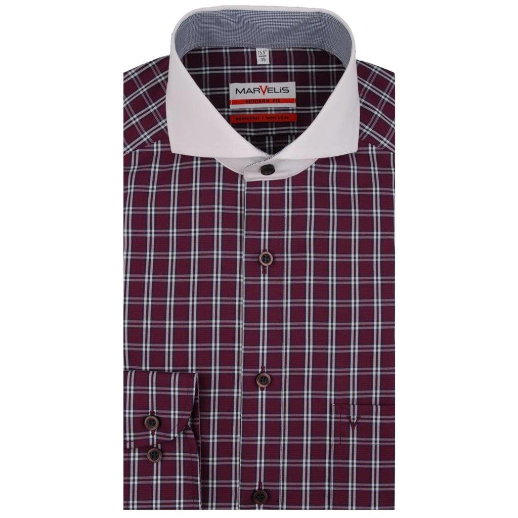 MarVelis MarVelis strijkvrij overhemd bordeaux ruit met contrast Modern Fit, Semi New Kent kraag