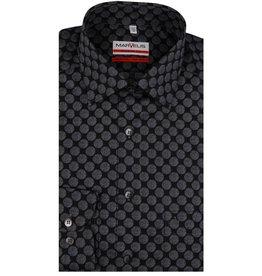 MarVelis MarVelis strijkvrij overhemd zwart met antraciet bolletjes motief Modern Fit,  New Kent kraag