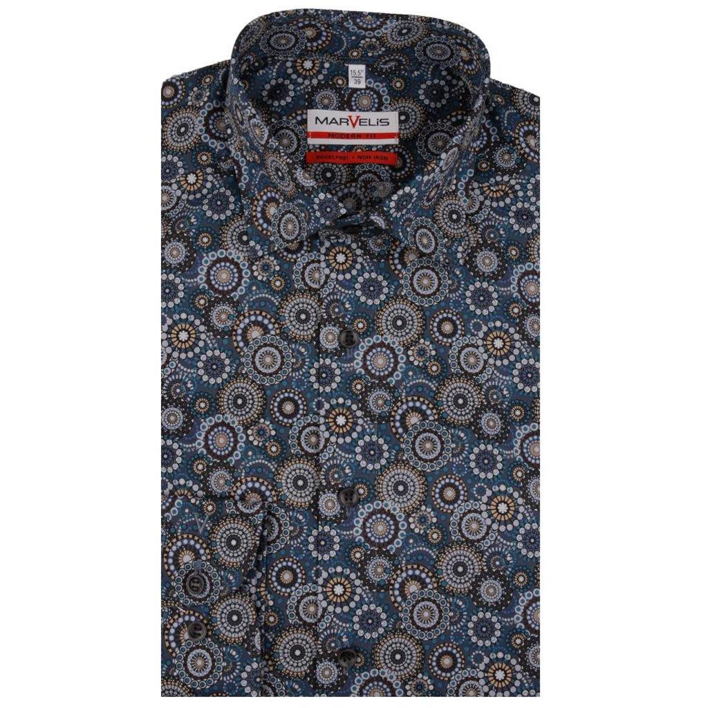 MarVelis MarVelis strijkvrij overhemd met fraaie print Modern Fit,  New Kent kraag