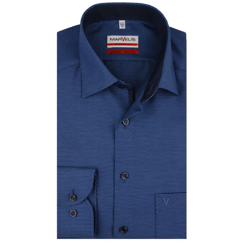 MarVelis MarVelis strijkvrij overhemd blauw  met contrast Modern Fit,  New Kent kraag