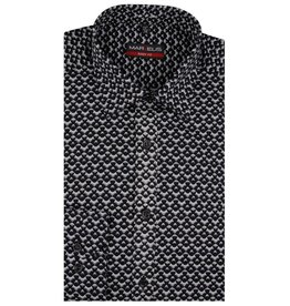 MarVelis MarVelis overhemd zwart/grijs motief Body Fit, New York Kent kraag