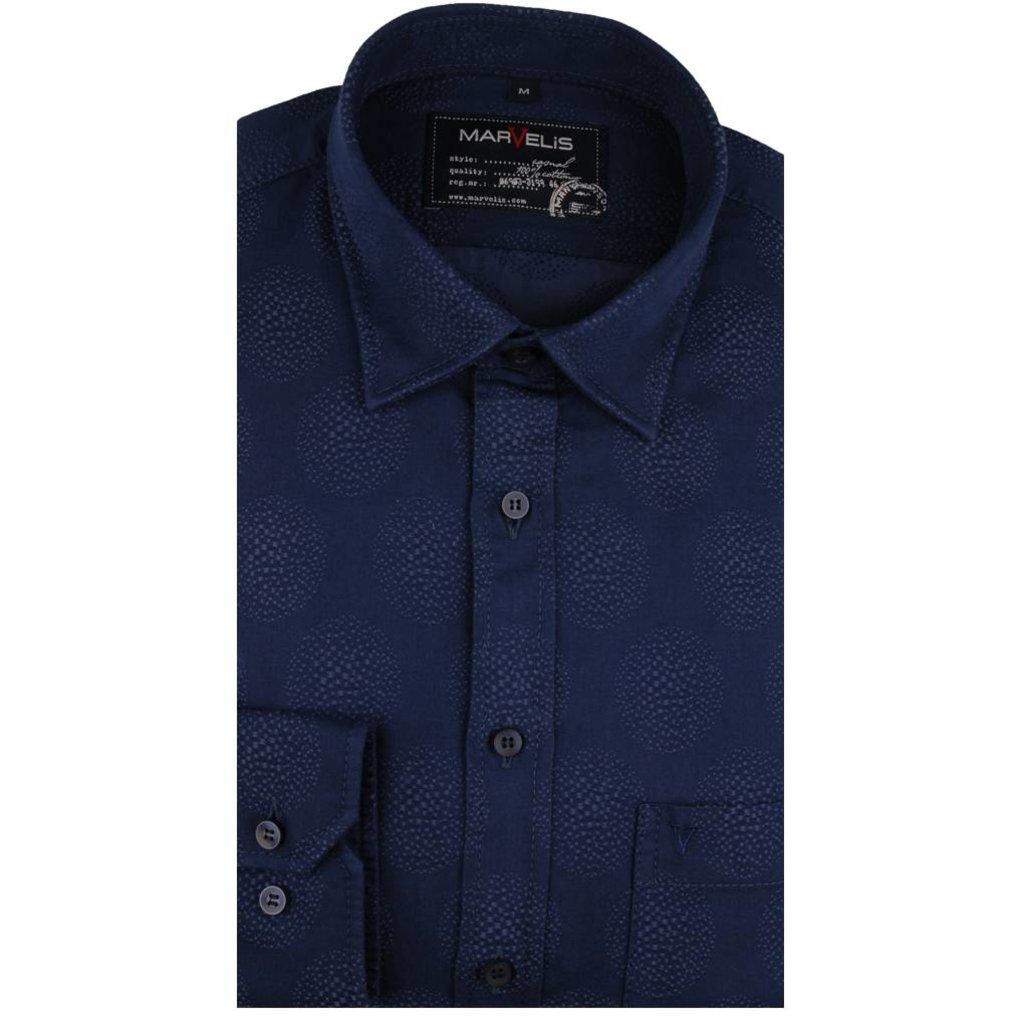 MarVelis Casual overhemd donkerblauw motief , New Kent kraag