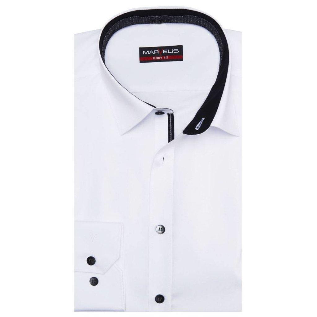 Overhemd Wit.Marvelis Overhemd Wit Met Contrast Body Fit New York Kent Kraag