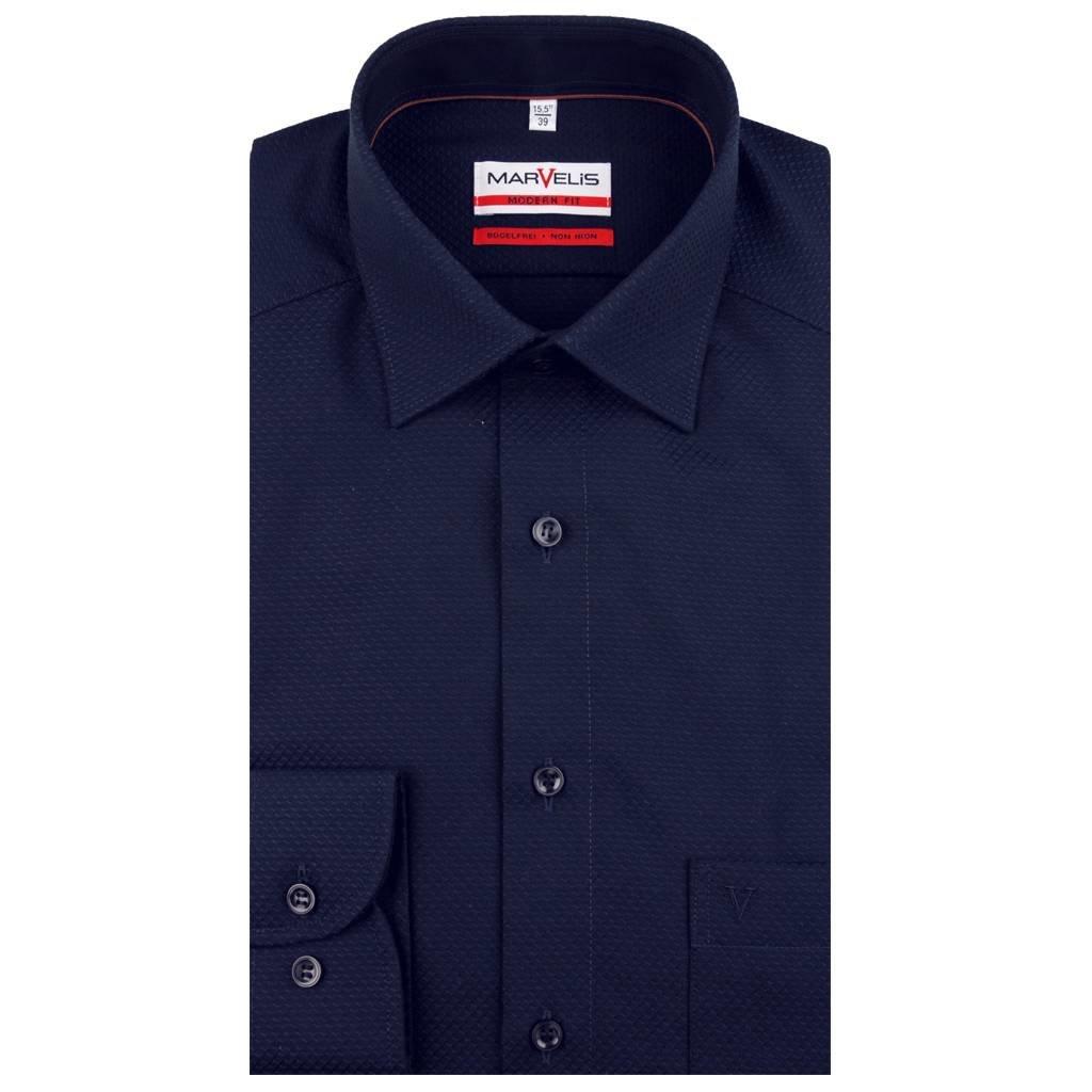 MarVelis MarVelis strijkvrij overhemd diep donkerblauw met motief Modern Fit, New Kent kraag
